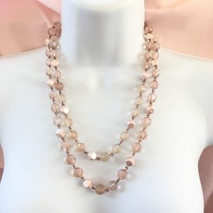 Jewelry - Long Pink Acrylic Bead Necklace